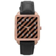 Stripes3 Black Marble & Brown Denim (r) Rose Gold Leather Watch