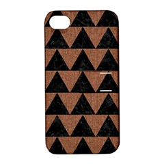 Triangle2 Black Marble & Brown Denim Apple Iphone 4/4s Hardshell Case With Stand