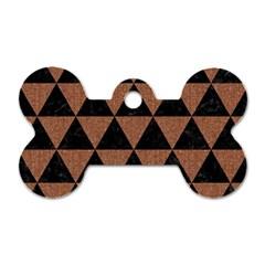 Triangle3 Black Marble & Brown Denim Dog Tag Bone (two Sides)