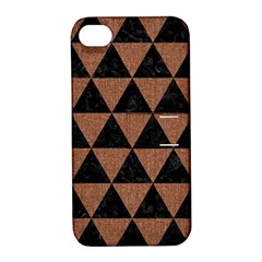 Triangle3 Black Marble & Brown Denim Apple Iphone 4/4s Hardshell Case With Stand