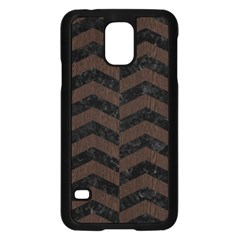 Chevron2 Black Marble & Dark Brown Wood Samsung Galaxy S5 Case (black)