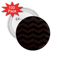 Chevron3 Black Marble & Dark Brown Wood 2 25  Buttons (100 Pack)