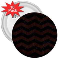 Chevron3 Black Marble & Dark Brown Wood 3  Buttons (10 Pack)