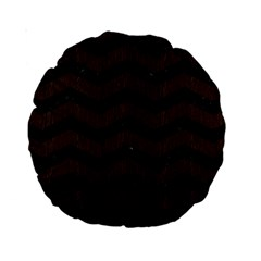 Chevron3 Black Marble & Dark Brown Wood Standard 15  Premium Round Cushions