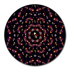 Floral Skulls In The Darkest Environment Round Mousepads