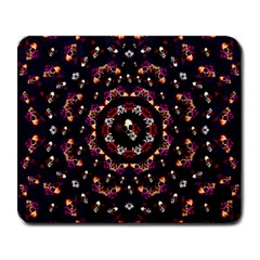 Floral Skulls In The Darkest Environment Large Mousepads