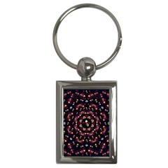 Floral Skulls In The Darkest Environment Key Chains (rectangle)