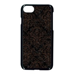 Damask1 Black Marble & Dark Brown Wood (r) Apple Iphone 8 Seamless Case (black)