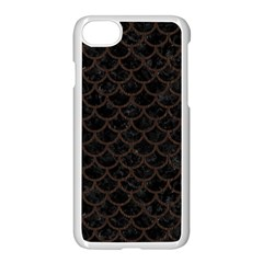 Scales1 Black Marble & Dark Brown Wood (r) Apple Iphone 8 Seamless Case (white)