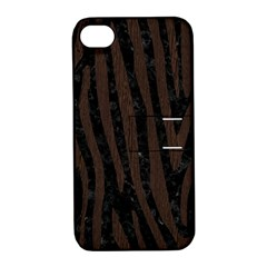 Skin4 Black Marble & Dark Brown Wood Apple Iphone 4/4s Hardshell Case With Stand