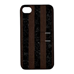 Stripes1 Black Marble & Dark Brown Wood Apple Iphone 4/4s Hardshell Case With Stand