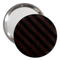 Stripes3 Black Marble & Dark Brown Wood 3  Handbag Mirrors