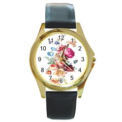 Fleur Vintage Floral Painting Round Gold Metal Watch