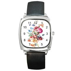 Fleur Vintage Floral Painting Square Metal Watch