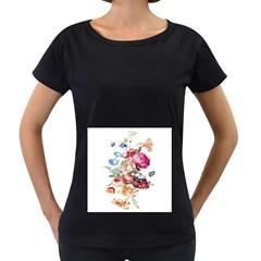 Fleur Vintage Floral Painting Women s Loose Fit T Shirt (black)
