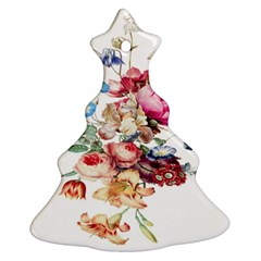 Fleur Vintage Floral Painting Christmas Tree Ornament (two Sides)