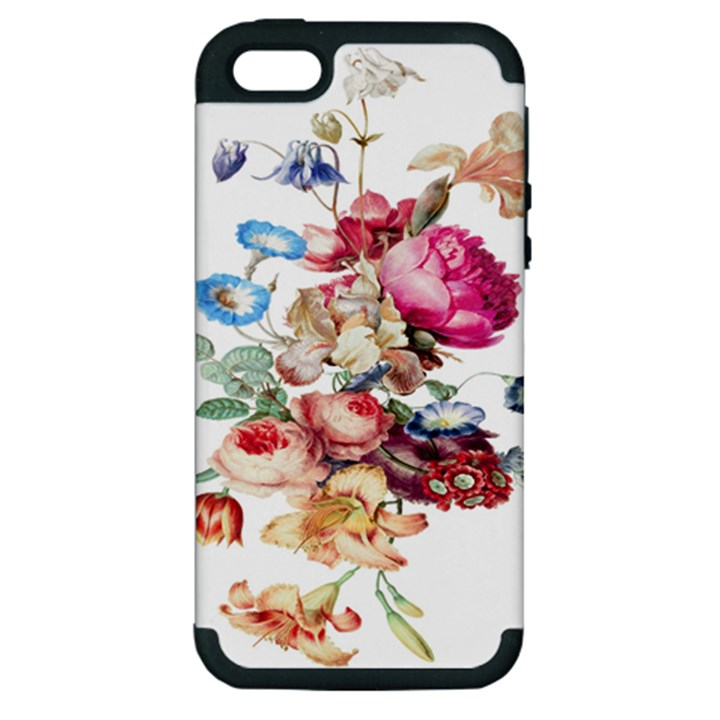 Fleur Vintage Floral Painting Apple iPhone 5 Hardshell Case (PC+Silicone)