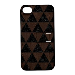 Triangle3 Black Marble & Dark Brown Wood Apple Iphone 4/4s Hardshell Case With Stand