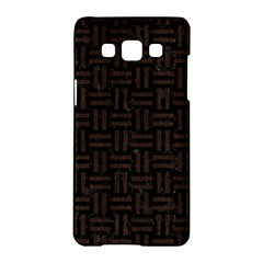 Woven1 Black Marble & Dark Brown Wood (r) Samsung Galaxy A5 Hardshell Case