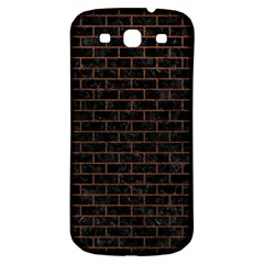 Brick1 Black Marble & Dull Brown Leather (r) Samsung Galaxy S3 S Iii Classic Hardshell Back Case