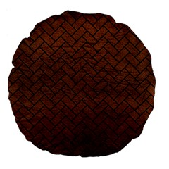 Brick2 Black Marble & Dull Brown Leather Large 18  Premium Flano Round Cushions