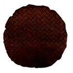 BRICK2 BLACK MARBLE & DULL BROWN LEATHER Large 18  Premium Flano Round Cushions Front