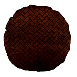 BRICK2 BLACK MARBLE & DULL BROWN LEATHER Large 18  Premium Flano Round Cushions Back