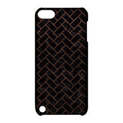Brick2 Black Marble & Dull Brown Leather (r) Apple Ipod Touch 5 Hardshell Case With Stand