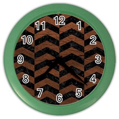 Chevron2 Black Marble & Dull Brown Leather Color Wall Clocks