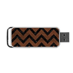 Chevron9 Black Marble & Dull Brown Leather Portable Usb Flash (two Sides)