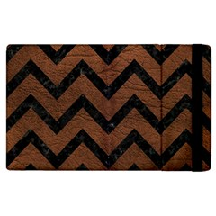 Chevron9 Black Marble & Dull Brown Leather Apple Ipad 3/4 Flip Case