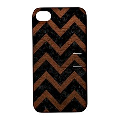 Chevron9 Black Marble & Dull Brown Leather (r) Apple Iphone 4/4s Hardshell Case With Stand