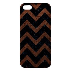 Chevron9 Black Marble & Dull Brown Leather (r) Iphone 5s/ Se Premium Hardshell Case