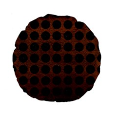 Circles1 Black Marble & Dull Brown Leather Standard 15  Premium Flano Round Cushions