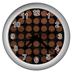 Circles1 Black Marble & Dull Brown Leather (r) Wall Clocks (silver)
