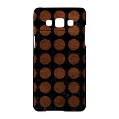 Circles1 Black Marble & Dull Brown Leather (r) Samsung Galaxy A5 Hardshell Case