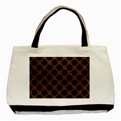 Circles2 Black Marble & Dull Brown Leather Basic Tote Bag (two Sides)