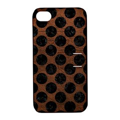 Circles2 Black Marble & Dull Brown Leather Apple Iphone 4/4s Hardshell Case With Stand