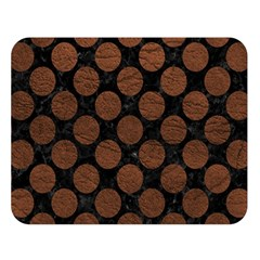 Circles2 Black Marble & Dull Brown Leather (r) Double Sided Flano Blanket (large)