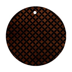 Circles3 Black Marble & Dull Brown Leather Round Ornament (two Sides)