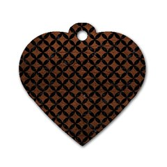 Circles3 Black Marble & Dull Brown Leather Dog Tag Heart (one Side)
