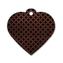 Circles3 Black Marble & Dull Brown Leather (r) Dog Tag Heart (one Side)