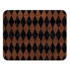 Diamond1 Black Marble & Dull Brown Leather Double Sided Flano Blanket (large)