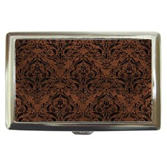 Damask1 Black Marble & Dull Brown Leather Cigarette Money Cases