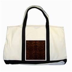 Damask2 Black Marble & Dull Brown Leather Two Tone Tote Bag
