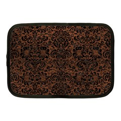 Damask2 Black Marble & Dull Brown Leather Netbook Case (medium)