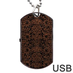 Damask2 Black Marble & Dull Brown Leather (r) Dog Tag Usb Flash (two Sides)