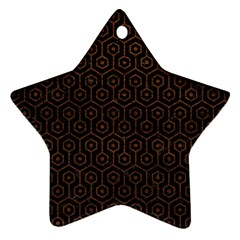 Hexagon1 Black Marble & Dull Brown Leather (r) Star Ornament (two Sides)