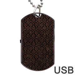 Hexagon1 Black Marble & Dull Brown Leather (r) Dog Tag Usb Flash (two Sides)