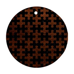 Puzzle1 Black Marble & Dull Brown Leather Round Ornament (two Sides)